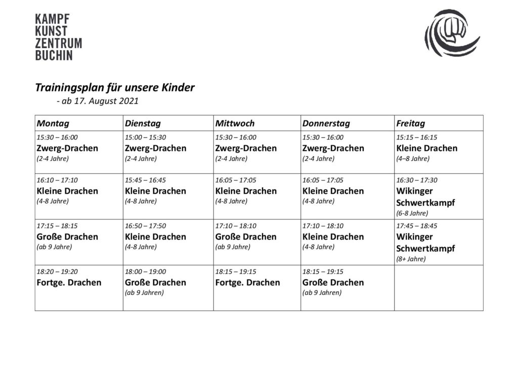 KKZB Stundenplan ab 17.08.21